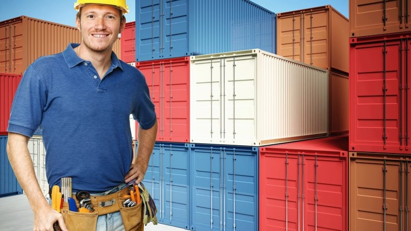 worker and  container background